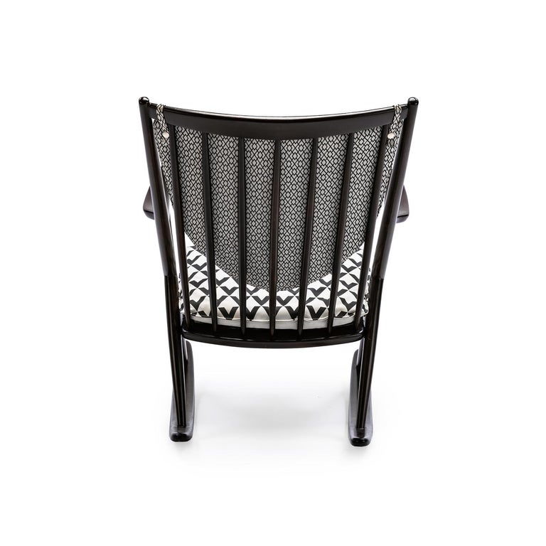 Modern Baxter Rocking Armchair No. 1 in Rosewood and White Leather by Draga & Aurel For Sale