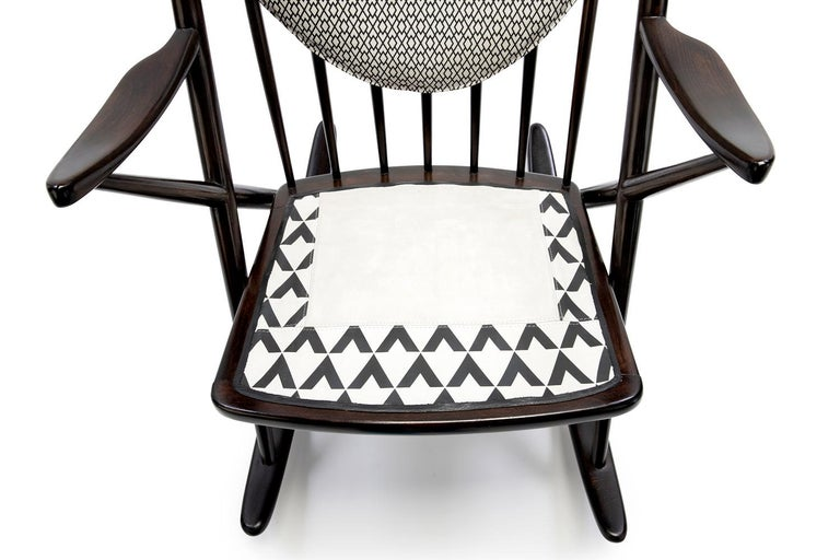 Hand-Crafted Baxter Rocking Armchair No. 1 in Rosewood and White Leather by Draga & Aurel For Sale