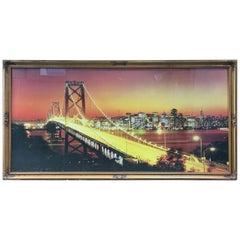 Bay Bridge, San Francisco a Large Printed Glass Illuminated Back Lit Picture