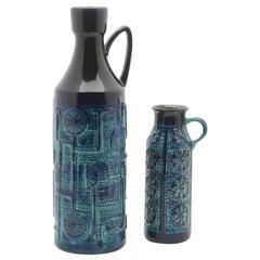 Bay Ceramic Pitcher Dark and Light Blue Glaze over Geometrical Patterns, Signed