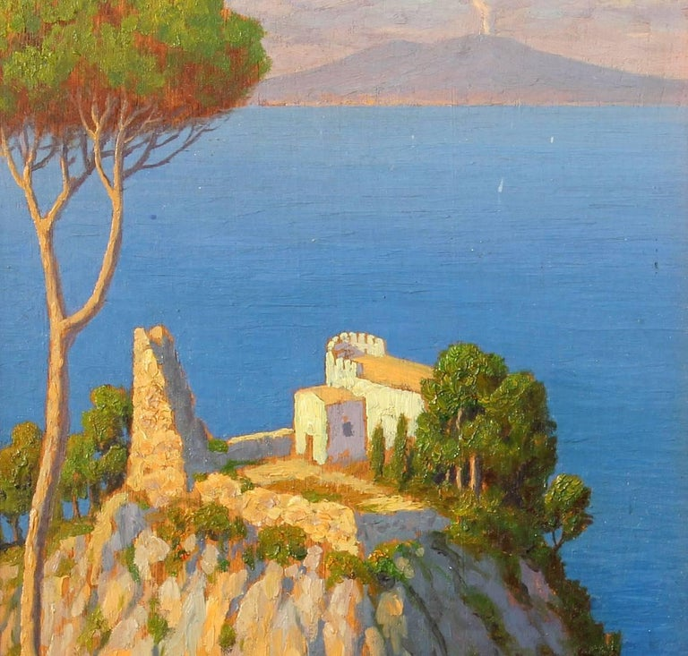 Oil painting sunlit Mediterranean view of the Bay of Naples and Mt Vesuvius. Oil on board by Willem Welters (Dutch 1881-1972).
