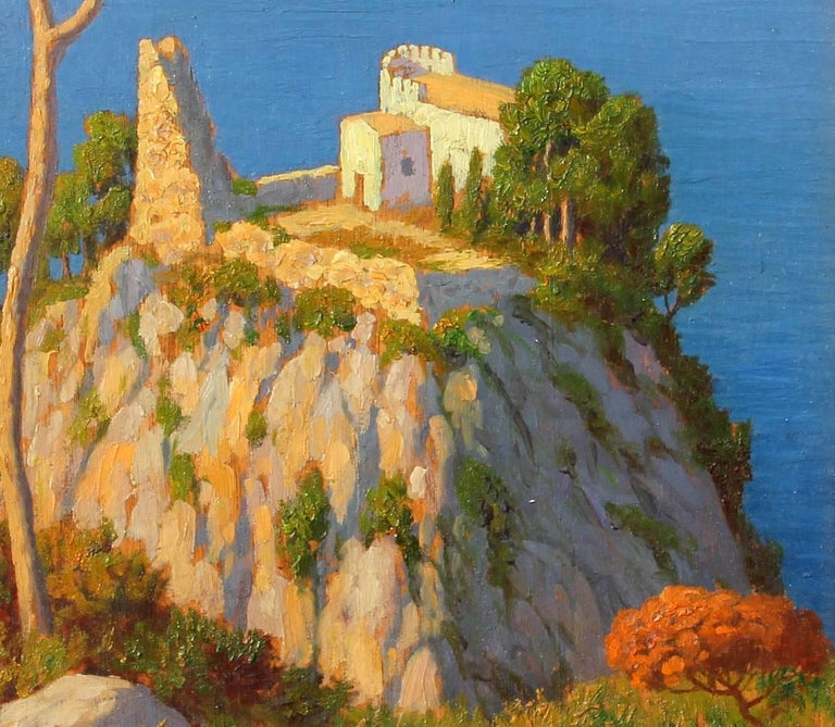 Italian Bay of Naples and Mt Vesuvius Oil Painting by Willem Welters For Sale