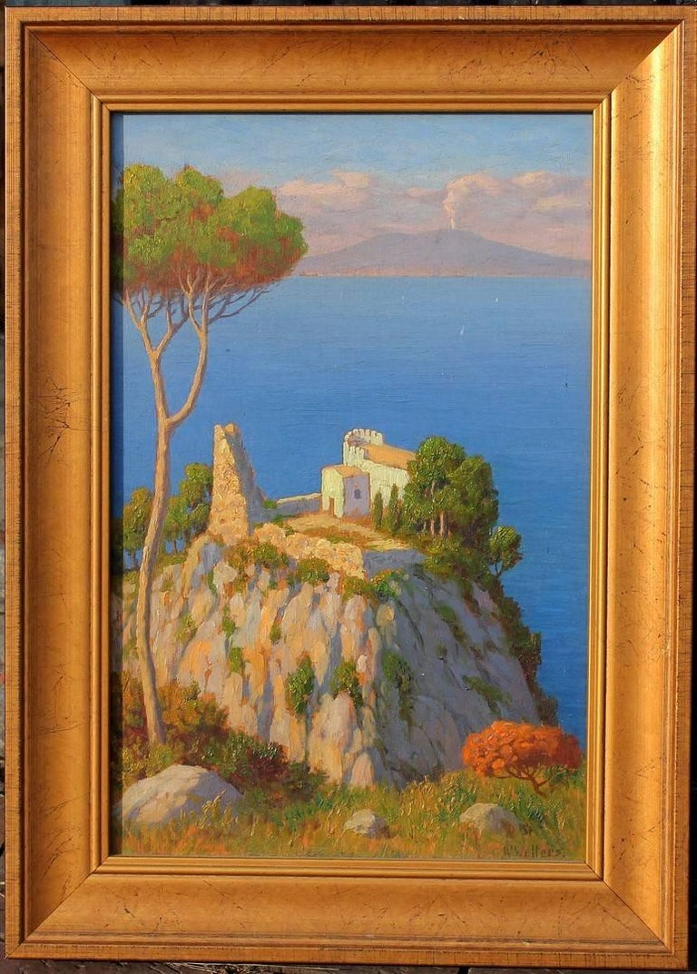 20th Century Bay of Naples and Mt Vesuvius Oil Painting by Willem Welters For Sale
