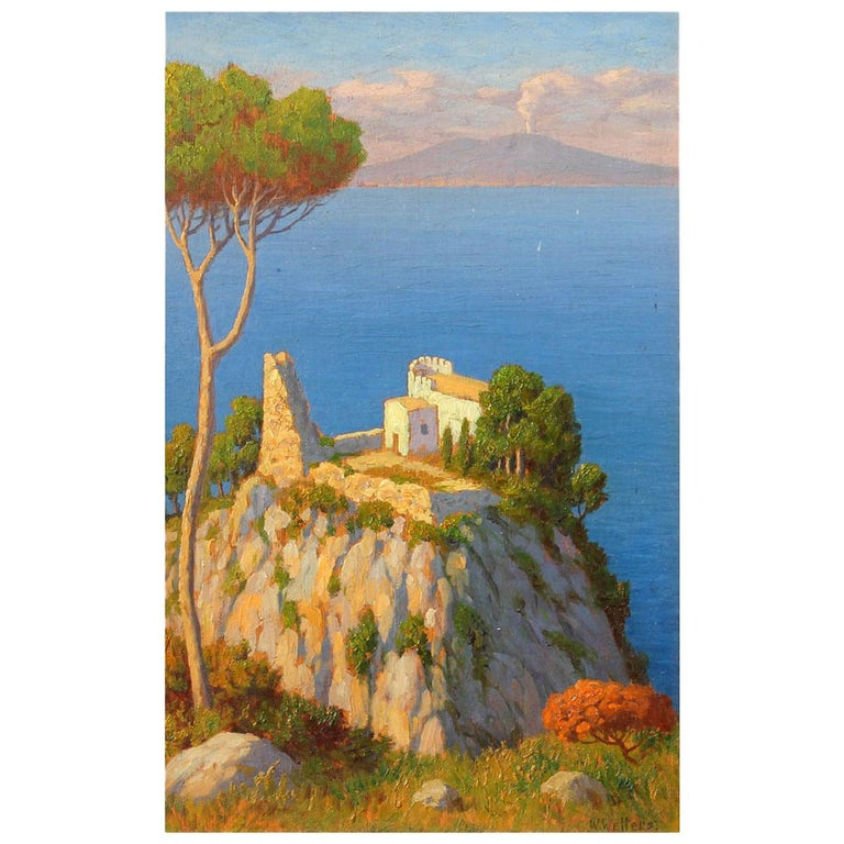 Bay of Naples and Mt Vesuvius Oil Painting by Willem Welters For Sale