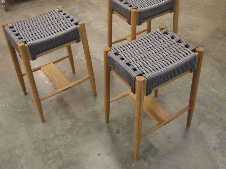 Stupendous Bay Stool Handmade Modern Walnut And Rope Woven Seat Counter Stool Pabps2019 Chair Design Images Pabps2019Com