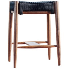 Bay Stool, Handmade Modern Walnut and Rope Woven Seat Counter Stool