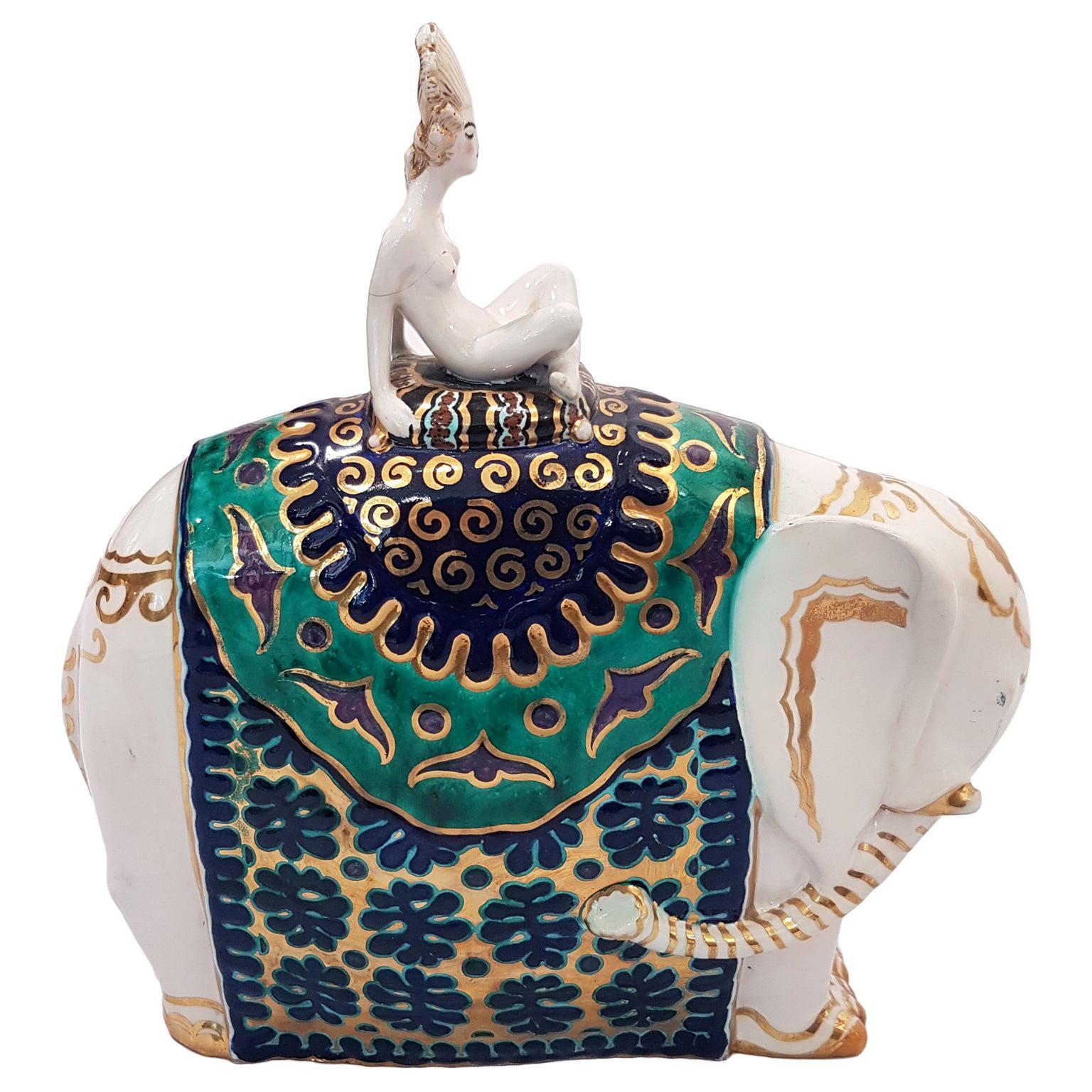 Bayadera on Elephant, Vintage Ceramic by Francesco Nonni, 1922