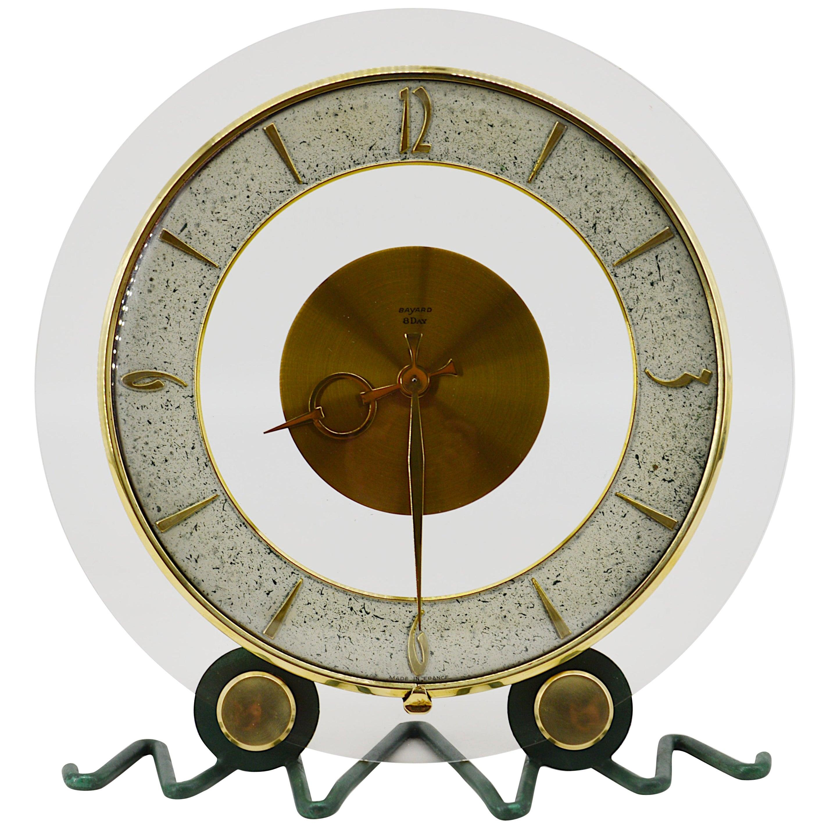 Bayard, French Art Deco Round Clock, 1930s