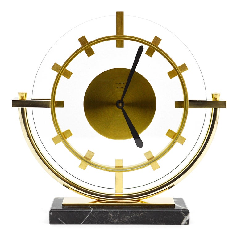 Art Deco clock by Bayard, France, 1930s. Very rare shape, almost impossible to find. Brass, marble and glass. 8 days movement. Marked