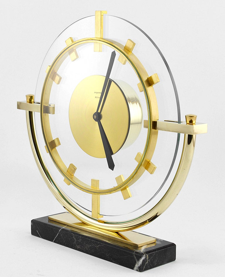 Bayard French Art Deco Table Clock, 1930s In Excellent Condition For Sale In Saint-Amans-des-Cots, FR