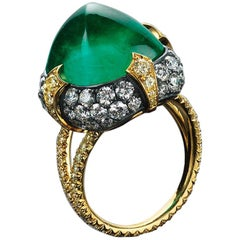 Bayco 11.28 Carat Sugarloaf Cabochon Colombian Emerald Diamond Gold Silver Ring