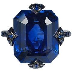 Bayco 14.26 Carat Emerald Cut Ceylon Sapphire Diamond Gold Cocktail Ring
