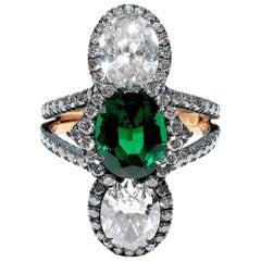 Bayco 1.95 Carat No Oil Zambian Emerald Diamond 20kt Gold Oxidized Silver Ring