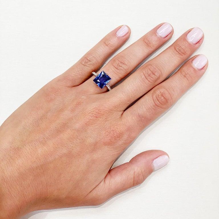Princess Cut Bayco 3.97 Carat Ceylon Sapphire Diamond 18 Karat Black Gold Cocktail Ring For Sale