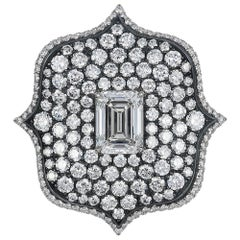 Bayco 6.02 Carat Emerald-Cut Diamond Platinum Oxidized Silver Lotus Ring