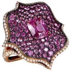 Bayco 7.12 Carat Pink Sapphire Diamond 18 Karat Gold Oxidized Silver Lotus Ring