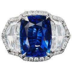 Bayco 7.60 Carat Burma No Heat Sapphire Diamond Platinum Ring