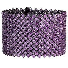 Bayco 90.69 Carat Pink Sapphire Black Gold Monochrome Bracelet