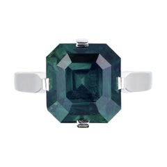 Bayco CDC Certified 10.42 Carat Unheated Green Sapphire Platinum Cocktail Ring