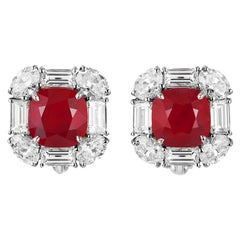Bayco CDC Certified 10.45 TCW Cushion Mozambique Ruby Diamond Platinum Earrings