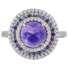 Bayco CDC Certified 1.54 Carat Purple Sapphire Platinum Cocktail Ring