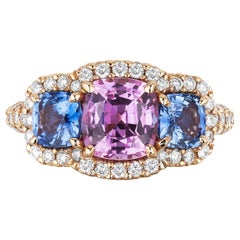 Bayco CDC Certified 3.51 Carat Pink Blue Sapphire Diamond Rose Gold Ring