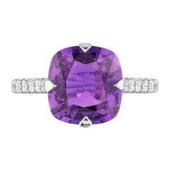 Bayco CDC Certified 4.07 Carat Unheated Purple Sapphire Diamond Platinum