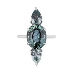 Bayco CDC Certified 7.60 Carat Green Sapphire Platinum Cocktail Ring