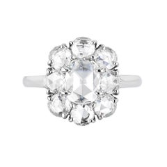 Bayco GIA Certified 1.97 Carat Rose Cut Diamond Platinum Cluster Ring