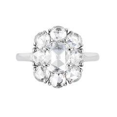 Bayco GIA Certified 1.97 Carat Rose Cut Diamond Platinum Cluster Ring