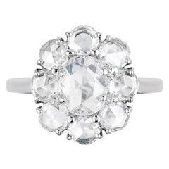 Bayco GIA Certified 2.78 Carat Rose Cut Diamond Platinum Cluster Ring