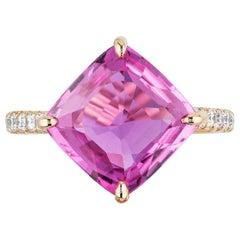 Bayco Gubelin Certified 5.02 Carat Pink Sapphire Diamond Rose Gold Ring