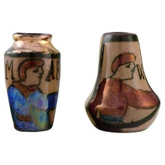 Bayeux, France, Two Miniature Vases in Hand-Painted Glazed Ceramics