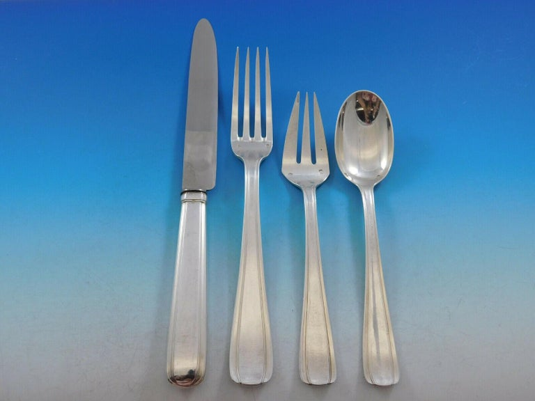 Bayonne by Alexandre Vaguer French 950 Silver Flatware Set Service Paris 122 Pcs In Excellent Condition For Sale In Big Bend, WI