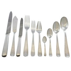 Bayonne by Alexandre Vaguer French 950 Silver Flatware Set Service Paris 122 Pcs