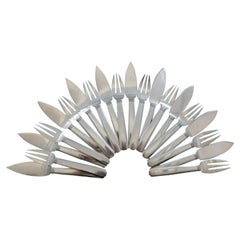 Bayonne by Puiforcat France Sterling Silver Flatware Fish Set Service 20 Pcs