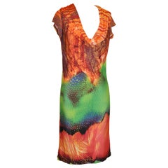 Bazaar of France Vivid Multicolor Abstract Cowl-Neck Cap-Sleeve Jersey Dress
