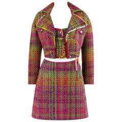 Bazar de Christian Lacroix c.2000's 3 Pc Multi-Color Tweed Eton Skirt Suit Set