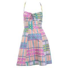 Bazar de Christian Lacroix Vintage Pastel Plaid Patchwork Summer Mini Dress