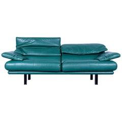 B & B Italia Alanda Leather Sofa Turquoise Blue Two-Seat