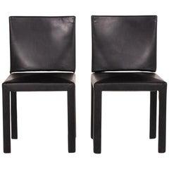 B&B Italia Arcadia Leather Chair Set Black 2 Armchairs