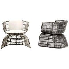 B&B Italia Armchair Crinoline, Patricia Urquiola, Black & White, Indoor, Outdoor