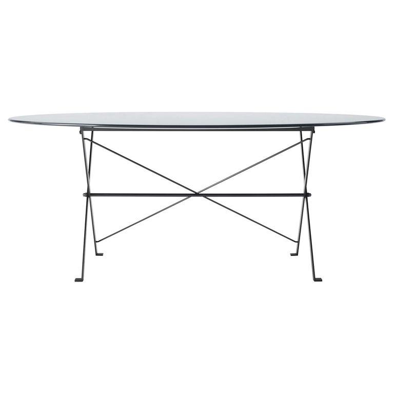 For Sale: Gray (1006L Anthracite Grey) Azucena Large Cavalletto Oval Table By Luigi Caccia Dominioni