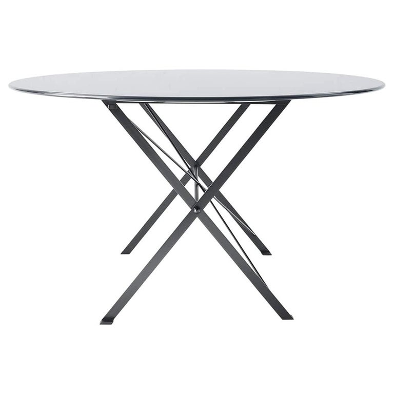 For Sale: Gray (1006L Anthracite Grey) Azucena Small Cavalletto Oval Table by Luigi Caccia Dominioni
