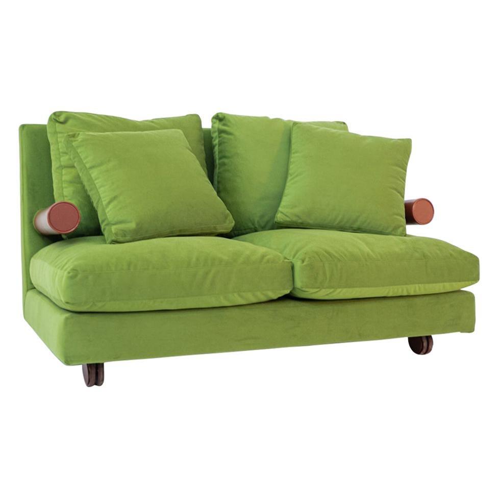 "B&B Italia ""Baisity"" Sofa by Antonio Citterio in Green Velvet, 1980s"