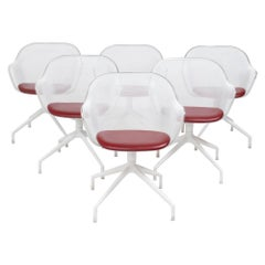 B&B Italia by Antonio Citterio Luta White & Red Leather Swivel Chairs, Set of 6