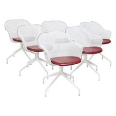 B&B Italia by Antonio Citterio Luta White & Red Leather Swivel Dining Chairs