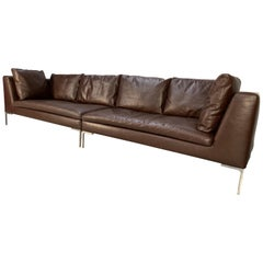 "B&B Italia ""Charles"" Sectional 4-Seat Sofa in Brown ""Gamma"" Leather"