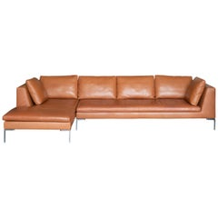 B&B Italia Charles Sectional in Cognac Leather by Antonio Citterio