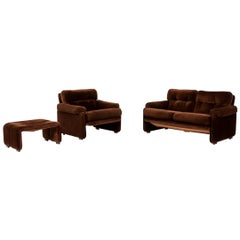 B&B Italia Coronado Fabric Sofa Set Brown 1 Two-Seat 1 Armchair 1 Stool
